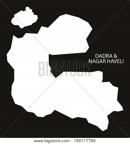 Dadra And Nagar Haveli India Map Black Inverted