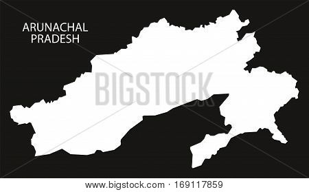 Arunachal Pradesh India Map Black Inverted