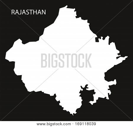Rajasthan India Map black inverted silhouette graphic