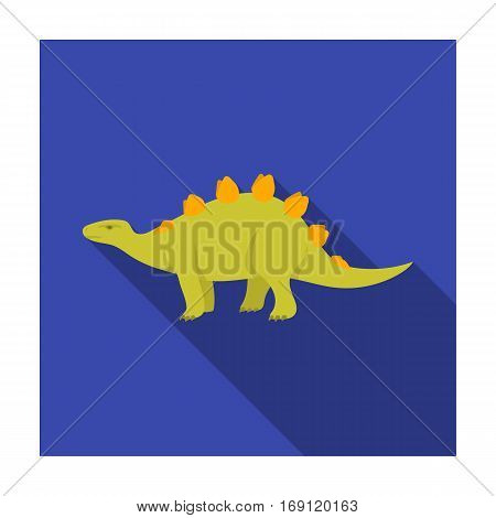 Dinosaur Stegosaurus icon in flat design isolated on white background. Dinosaurs and prehistoric symbol stock vector illustration.