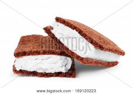 Sponge cake on a white background Butter, English, British, Whipped