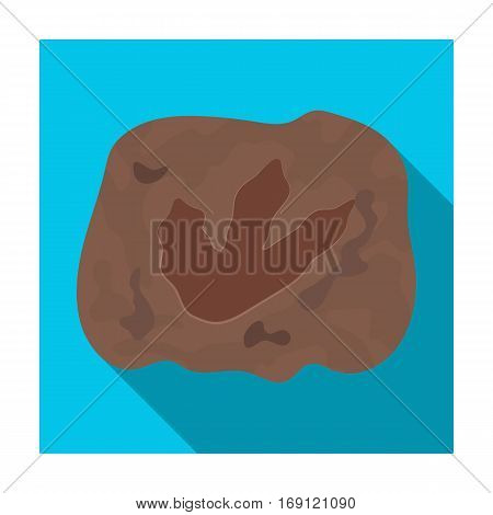 Rock with dinosaur footprint icon in flat design isolated on white background. Dinosaurs and prehistoric symbol stock vector illustration.