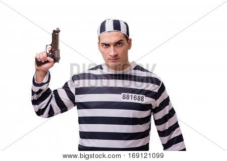 Man prisoner with gun isolated on white