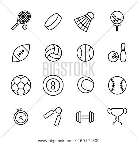 Set of sport icons in modern thin line style. High quality black outline acivity symbols for web site design and mobile apps. Simple sport pictograms on a white background.