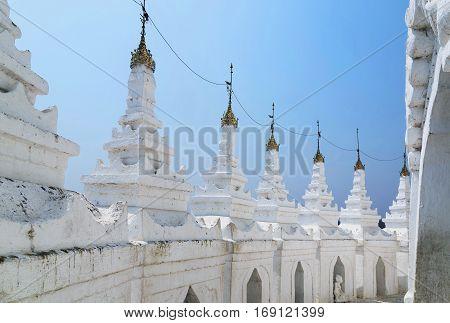 White pagoda of Hsinbyume in Burma Mya Thein Dan pagoda paya temple Mingun Mandalay - Myanmar. Travel concept. Advertising concept. Holiday travel. Hsinbyume