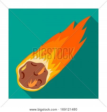 Flame meteorite icon in flat design isolated on white background. Dinosaurs and prehistoric symbol stock vector illustration.