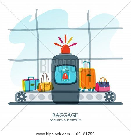 Red Alarm Siren On Scanner Warns Of Dangerous Baggage. Vector Hand Drawn Illustration.