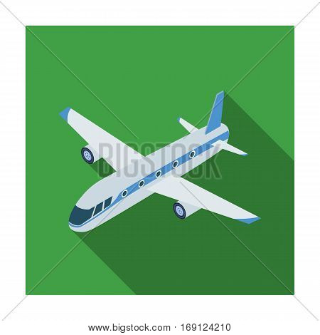 Airplane icon in flat design isolated on white background. Transportation symbol stock vector illustration.