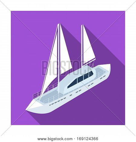 Yacht icon in flat design isolated on white background. Transportation symbol stock vector illustration.
