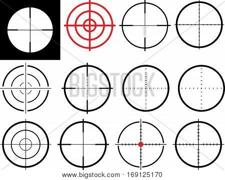set of isolated crosshairs - clip art illustration