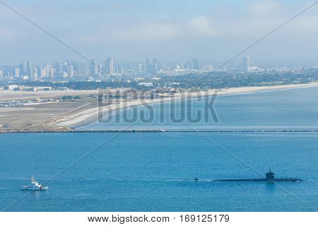 American submarine leaving naval base in San Diego harbor, California