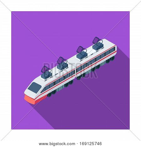Train icon in flat design isolated on white background. Transportation symbol stock vector illustration.