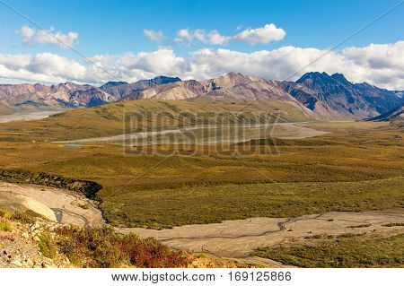 the scenic landscape of Denali National Park Alaska