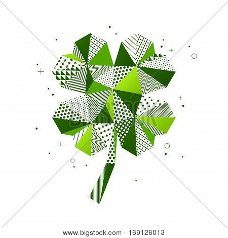 Saint Patrick's Day four leaf clover in patchwork mosaic style. Holiday sticker icon. Vector illustration. Abstract polygonal form with ornament.