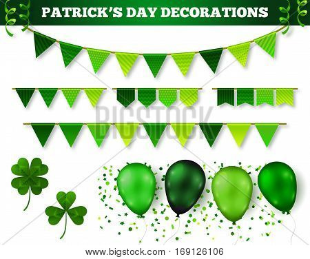 Saint Patrick's Day 3D Decorations Set Isolated on White. Vector Illustration. Flag Garlands, Balloons in Traditional Colors, Confetti and Serpentine. Three leaf and four leaf clovers.