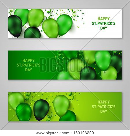Saint Patrick's Day Horizontal Banners Set with Green Shiny Balloons, Confetti and Serpentine. Vector illustration. Party Invitation Concept in Traditional Colors with Place for your Text.