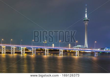 Macau Tower woth urban ladscape, Macao China at night
