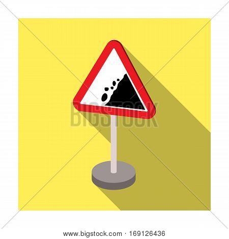 Warning road sign icon in flat design isolated on white background. Road signs symbol stock vector illustration.