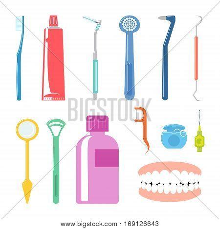 Dental Care Items. Vector Illustration Of Dental Hygene Item