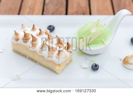 Dessert - Cheesecake with lime sherbet ice cream
