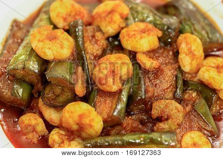 Brinjal with Prawn Curry,Malaysian traditional and famous food.