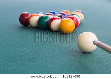 Focus On Cue Aiming White Ball To Break Snooker Billards