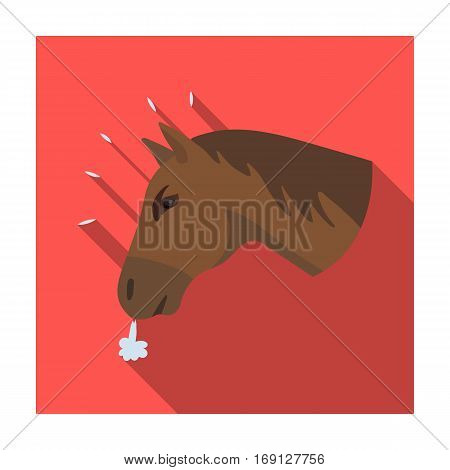 Horse's head icon in flat design isolated on white background. Rodeo symbol stock vector illustration.