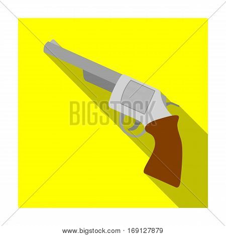 Revolver icon in flat design isolated on white background. Rodeo symbol stock vector illustration.