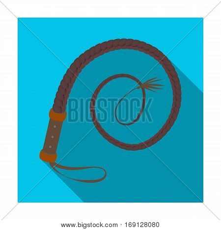 Whip icon in flat design isolated on white background. Rodeo symbol stock vector illustration.