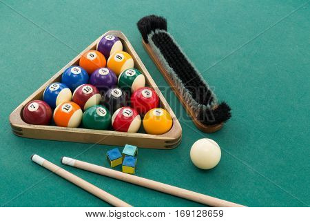 Snooker Billards Pool Balls, Cue, Brush, Chalk On Green Table