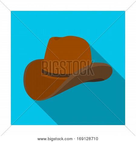 Cowboy hat icon in flat design isolated on white background. Rodeo symbol stock vector illustration.