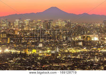 Tokyo city aerial view and mountain fuji
