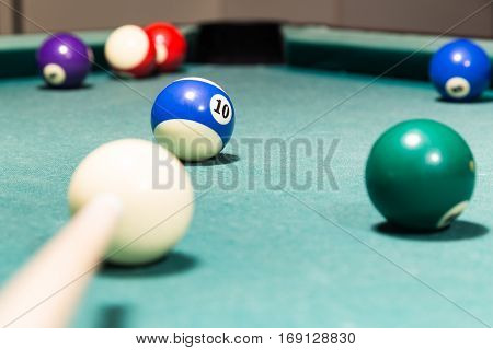 Cue Aiming Red Ball Into Snooker Billards Table Pocket