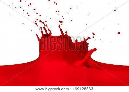 red paint splashing isolated on white