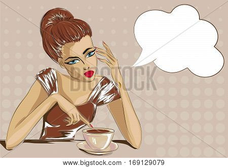 Pin Up Style Bored Woman With Cop Of Coffee, Speech Bubble Pop Art Portrait Vector Illustration