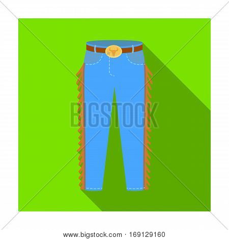 Cowboy jeans icon in flat design isolated on white background. Rodeo symbol stock vector illustration.