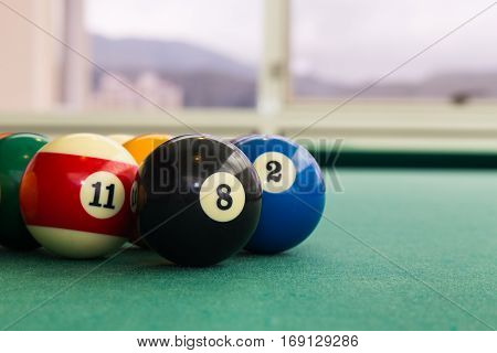 Closeup Snooker Billards Ball On Table With Green Surface