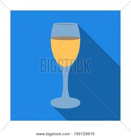 Glass of white wine icon in flat design isolated on white background. Wine production symbol stock vector illustration.