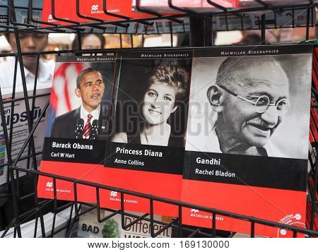 BANGKOK: February 1: Series of world dignitaries (Barack Obama, Princess Diana and Gandhi) on sale in bookstores in street market on FEBRUARY 1, 2017 in Bangkok, Thailand.