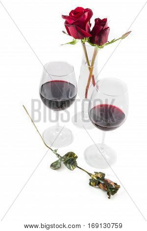 Roses And Red Wine Glasses On White Valentines Day Composition