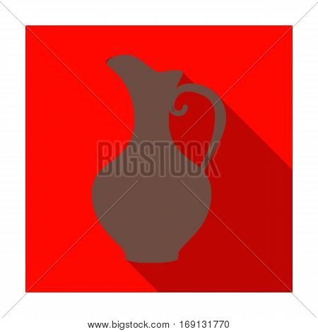 Clay jug of wine icon in flat design isolated on white background. Wine production symbol stock vector illustration.