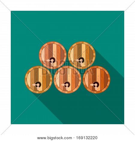 Wine barrels icon in flat design isolated on white background. Wine production symbol stock vector illustration.