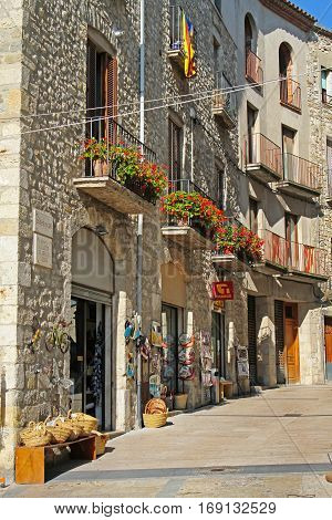 Besalu Spain - September 09 2014: Street in the medieval village Besalu Spain
