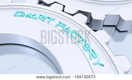 Two silver metal gears from a machine connected with the blue word smart factory on reflecting floor industry 4.0 concept 3D illustration