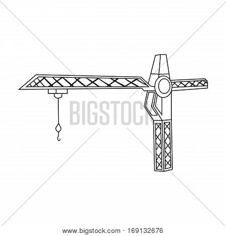 Building crane icon in outline design isolated on white background. Architect symbol stock vector illustration.