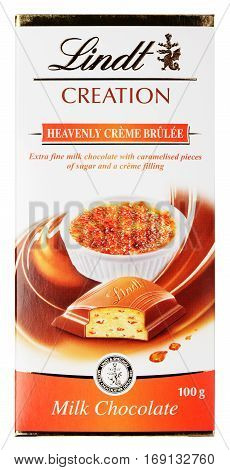 MOSCOW, RUSSIA - FEBRUARY 1, 2017: Top view of Lindt Creation Heavenly Crème Brûlée Swiss milk chocolate bar isolated on white with clipping path. Lindt chocolate made by Lindt & Sprüngli AG