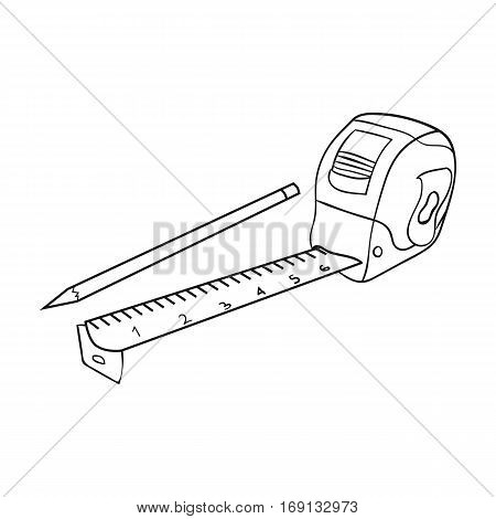 Tape measure and pencil icon in outline design isolated on white background. Architect symbol stock vector illustration.