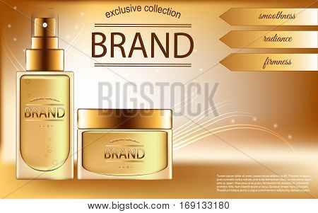 Realistic cosmetic set consisting of a bottle of oil or concealer and jars of cream or balm