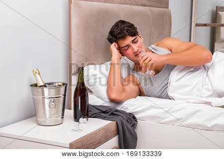 Man in the bed after party - Hangover concept