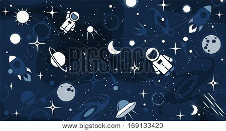 Vector flat cosmos design background. Cute template with Astronaut Spaceship Rocket Moon Black Hole Stars in Outer space